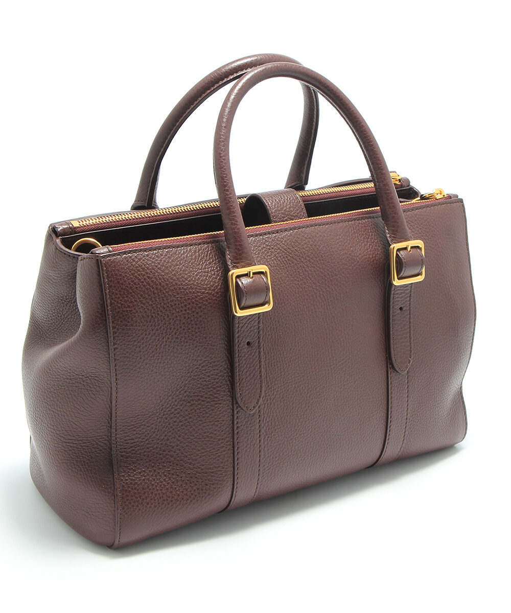 Mulberry small bayswater double zipped tote bag in oxblood backside