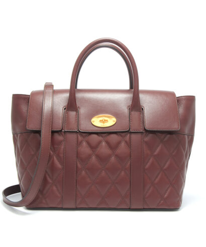 Mulberry bayswater with strap burgundy quilted front