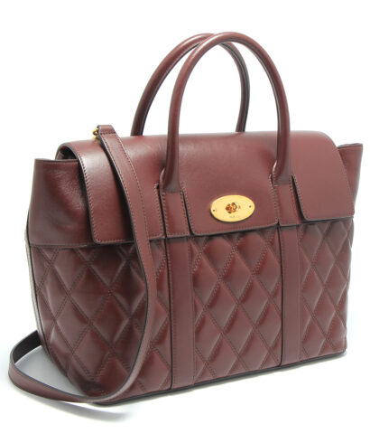 Mulberry bayswater with strap burgundy quilted