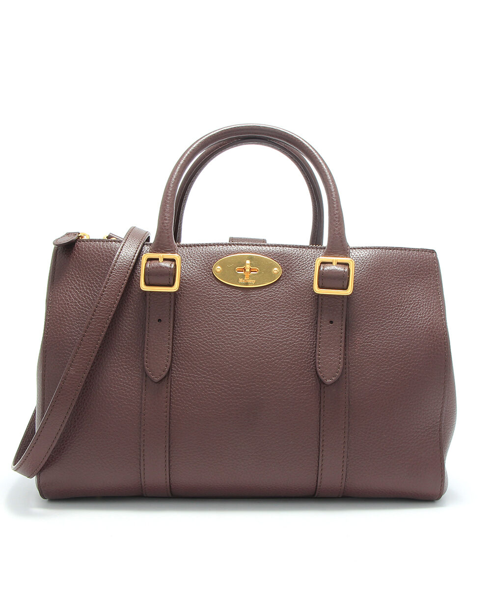 Mulberry small bayswater double zipped tote bag in oxblood front