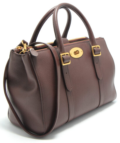 Mulberry small bayswater double zipped tote bag in oxblood side