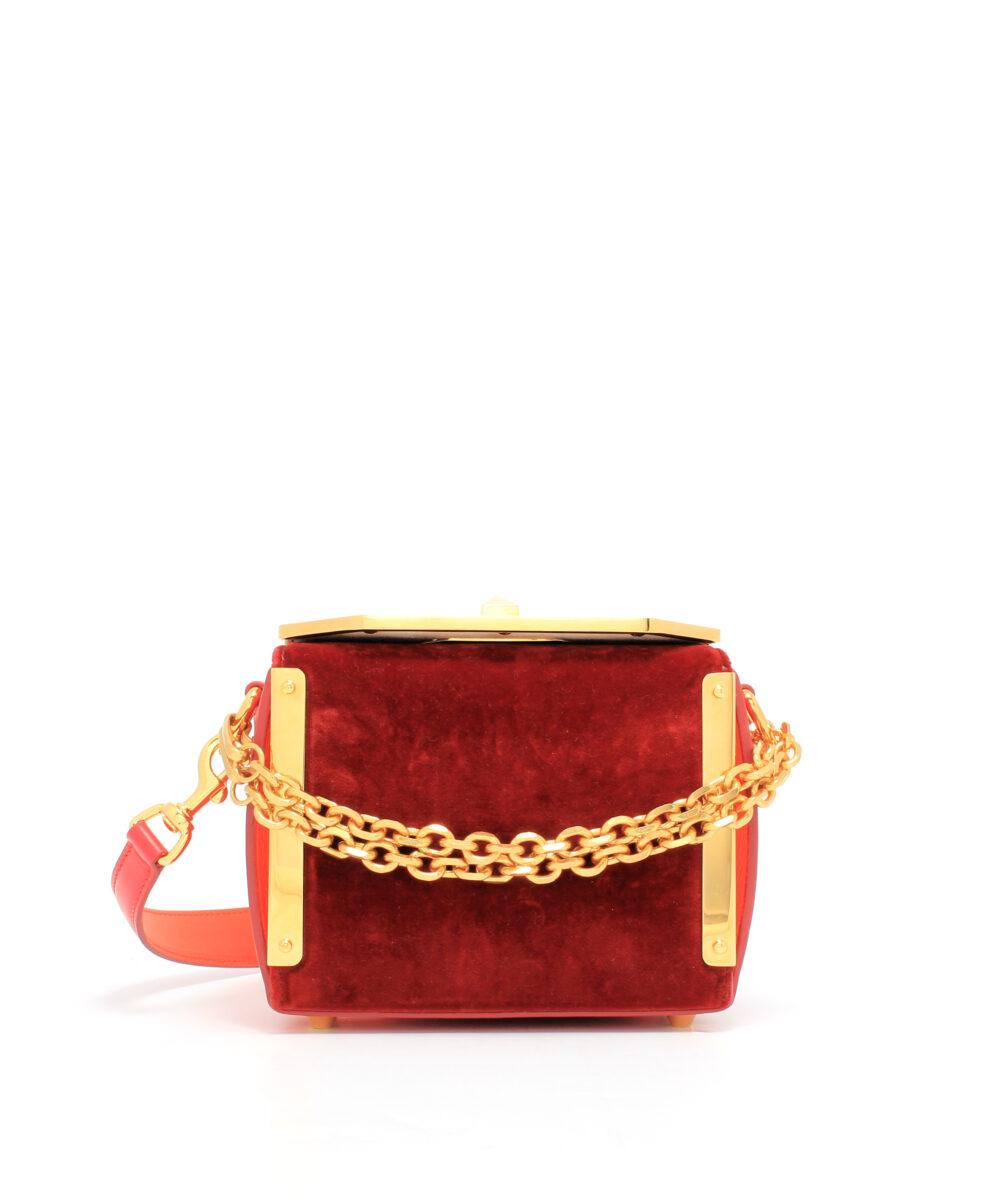 Alexander McQueen-Box-Bag-16-Velvet-Red-Designerväska Rea