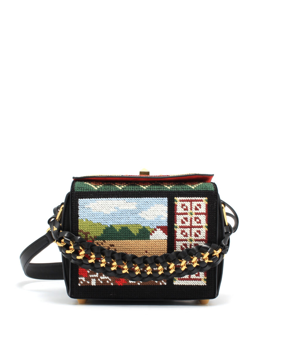 AMQ-Box-Bag-19-Embroidery-Black-491729DZQGM1099-Front
