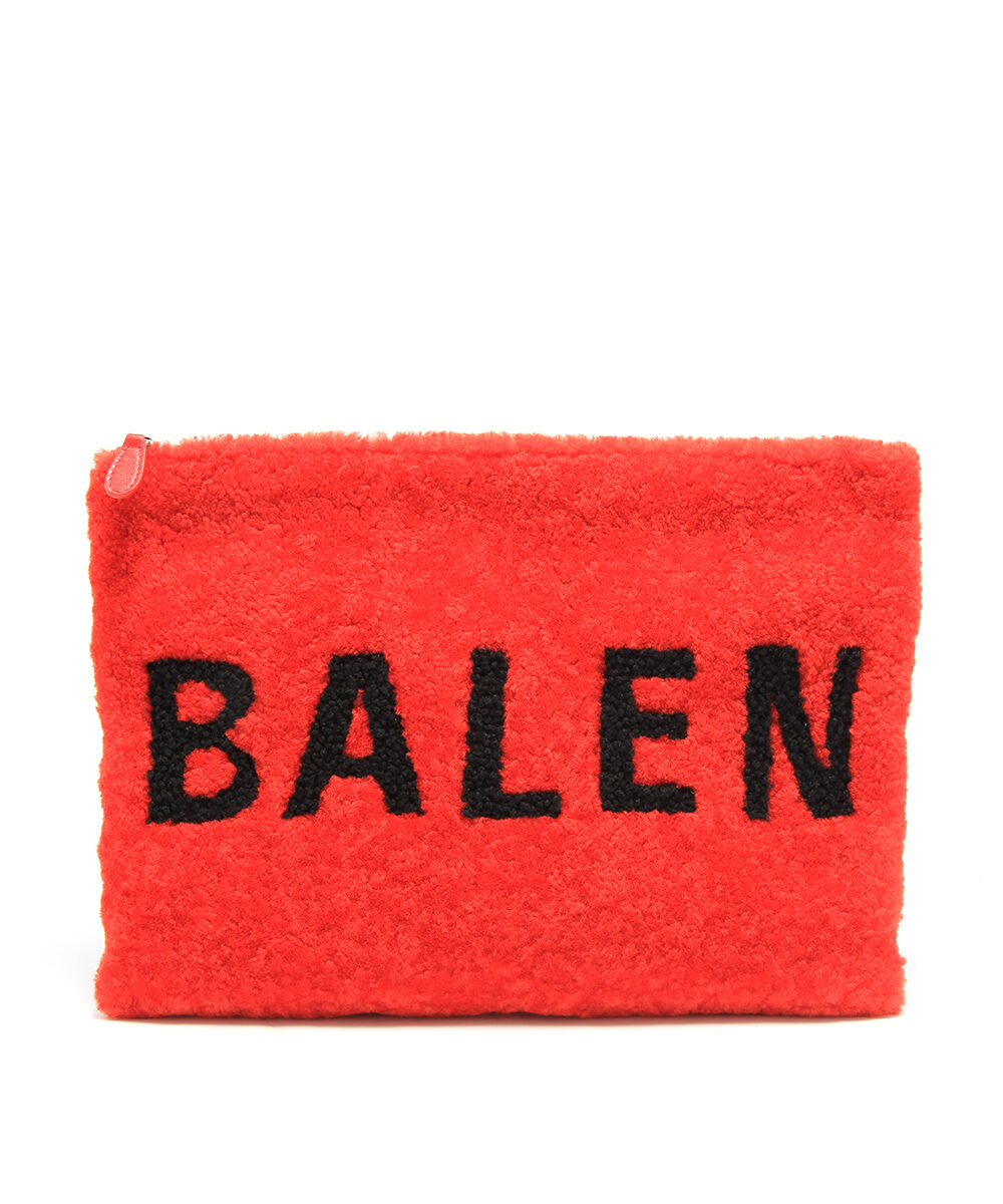 Balenciaga-Pouch-Shearling-Rouge-Blk-front