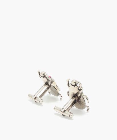 Alexander mcqueen beetle cufflinks silver