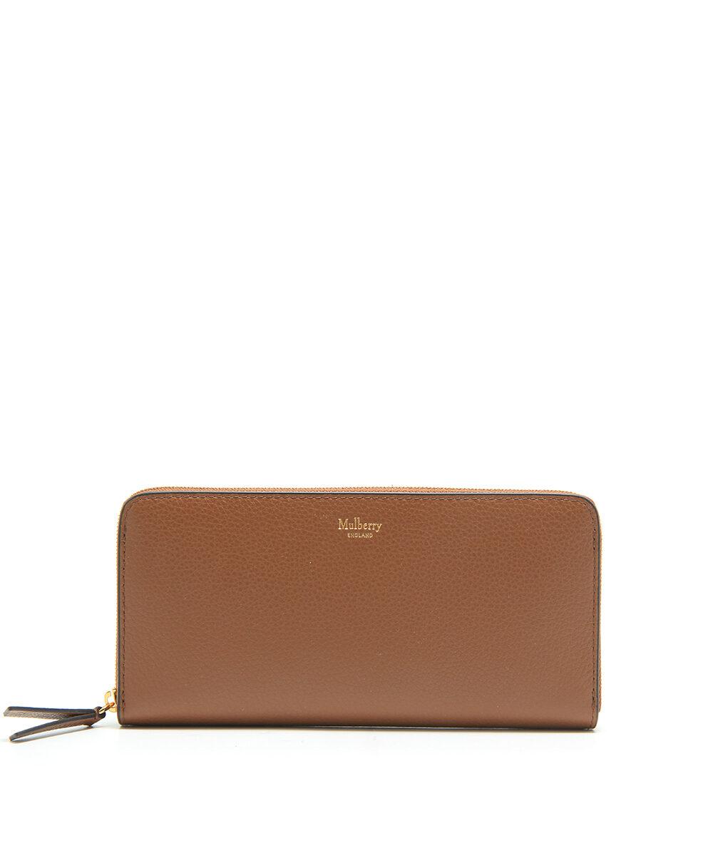 Mulberry-8CC-Zip-Around-Wallet-Oak-RL4887-205G110-front