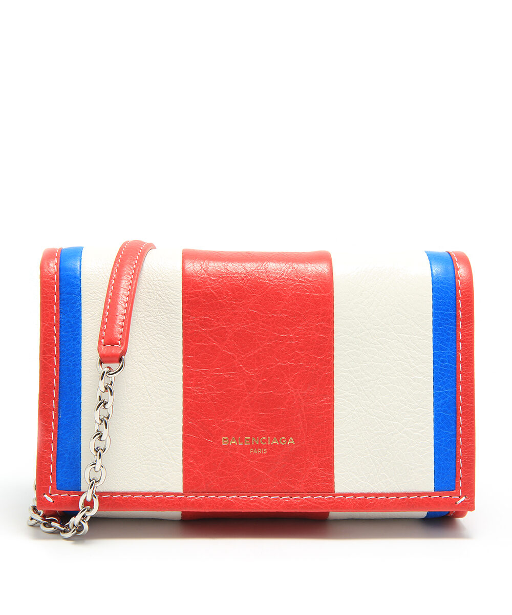 Balenciaga Bazar Chain Wallet Blue-White-Rouge-front