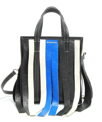 Balenciaga XS Bazar Shopper Fringe Blue-Wht-front