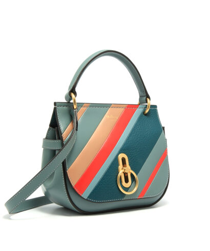 Mulberry-Small-Amberley-Satchel-Diagonal-Stripe-Blue-Liten Designerväska Rea