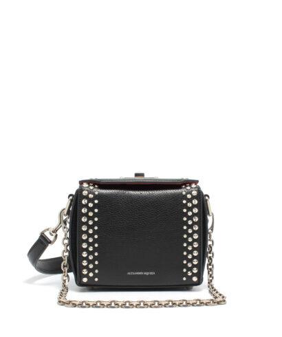 Alexander McQueen-Box-Bag-16-Studs-Black-Designerväska Rea