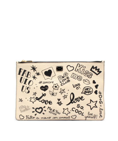 DG-Pouch-Bag-Grafitti-White-Designerväska Rea DOlce and gabbana